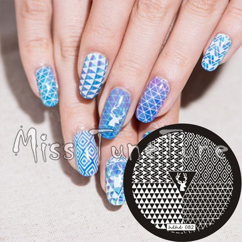 Simple Nail Art Cost: New Stamping Plate Hehe82 Triangles 3D Geometric Drawing