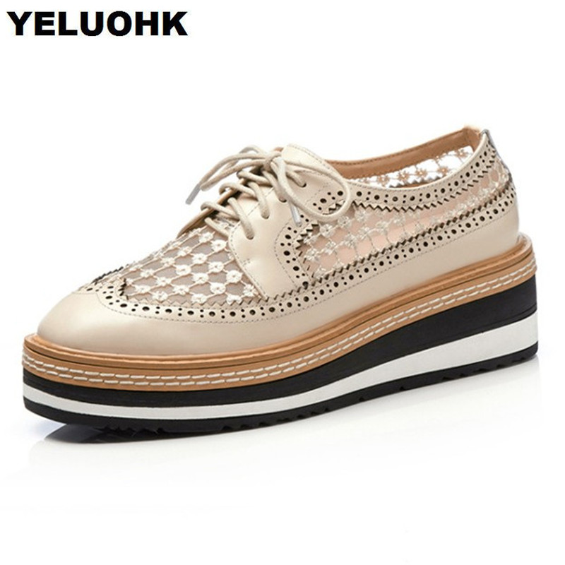 Brand New Genuine Leather Shoes Women Air Mesh Breathable Platform Shoes Women Flats Creeper Casual Shoes Woman