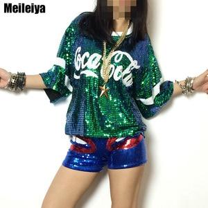 Image 2 - black green red silver Ds paillette ballroom dance tops hip hop costume top dance top jazz shirts