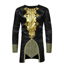 2019 men's afro long-sleeved t-shirts with medium length tops