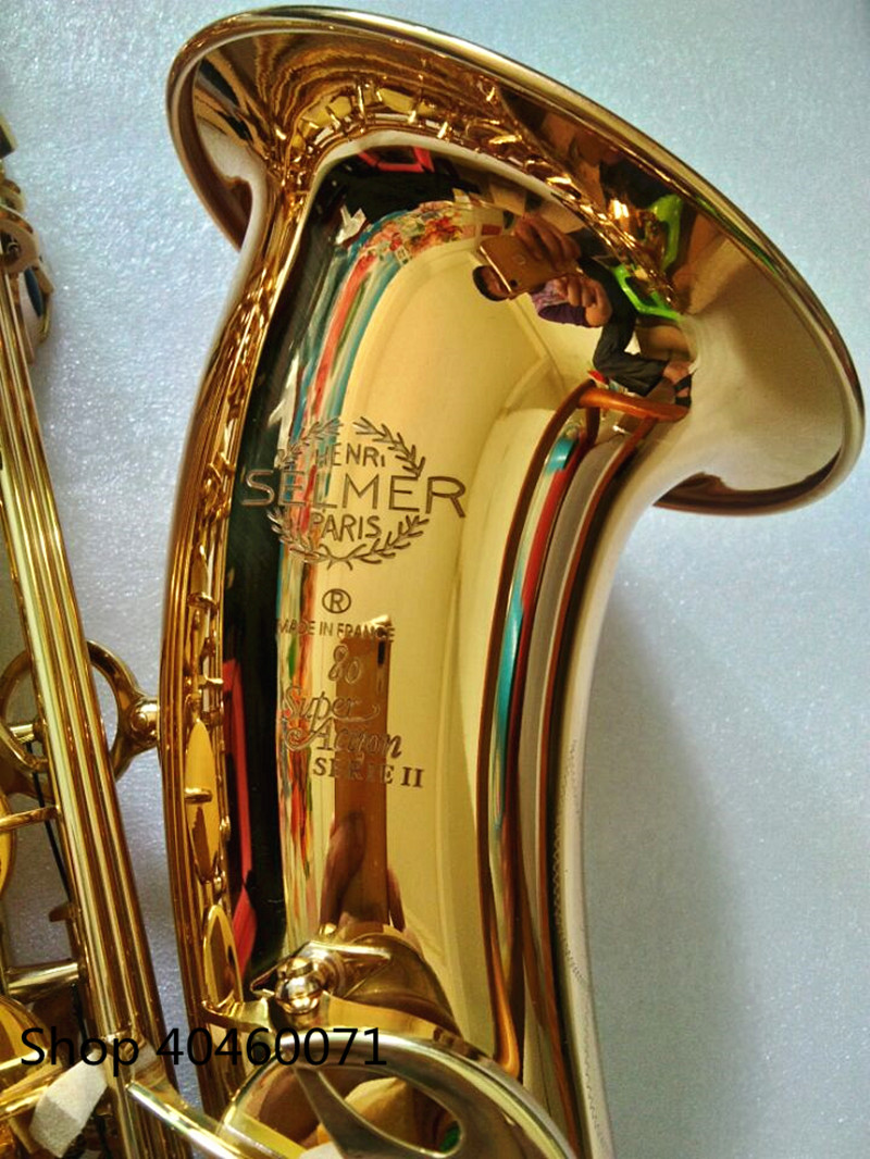 New Saxophone tenor Bb France SELMER 802 model Sax gold tenor Saxopfone musical instruments Perfect packaging Gift way shipment tenor saxophone bb sax wind instrument pure silve surface sax western instruments tenor saxofone musical instruments saxophone