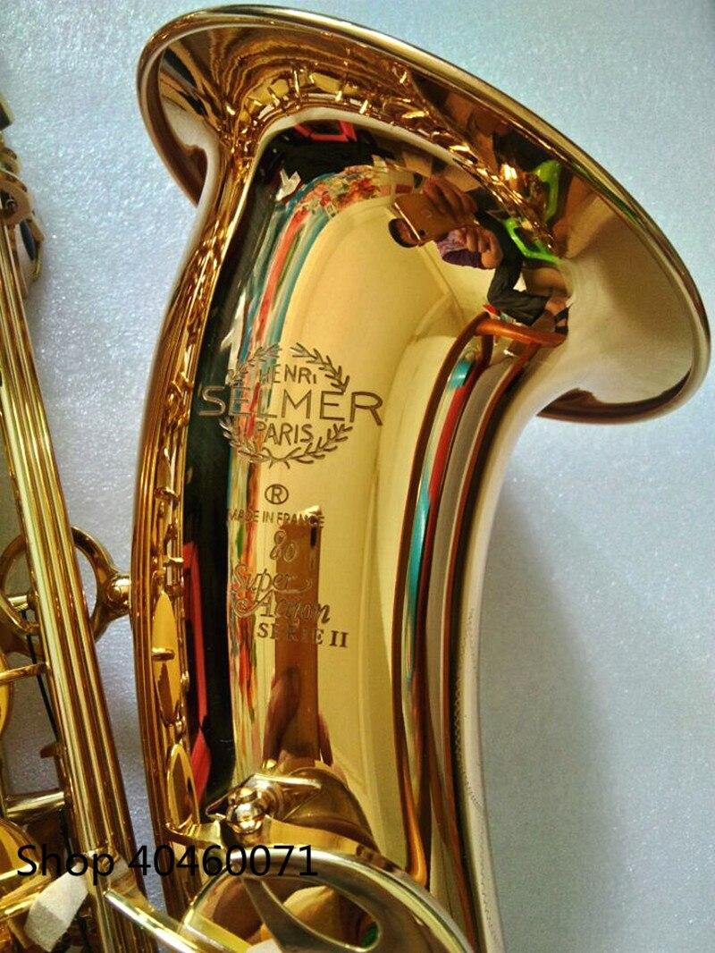 Nuovo Sassofono tenore Bb France SELMER 802 modello Sax oro tenore Saxopfone strumenti musicali imballaggio Perfetto Regalo di modo della spedizione