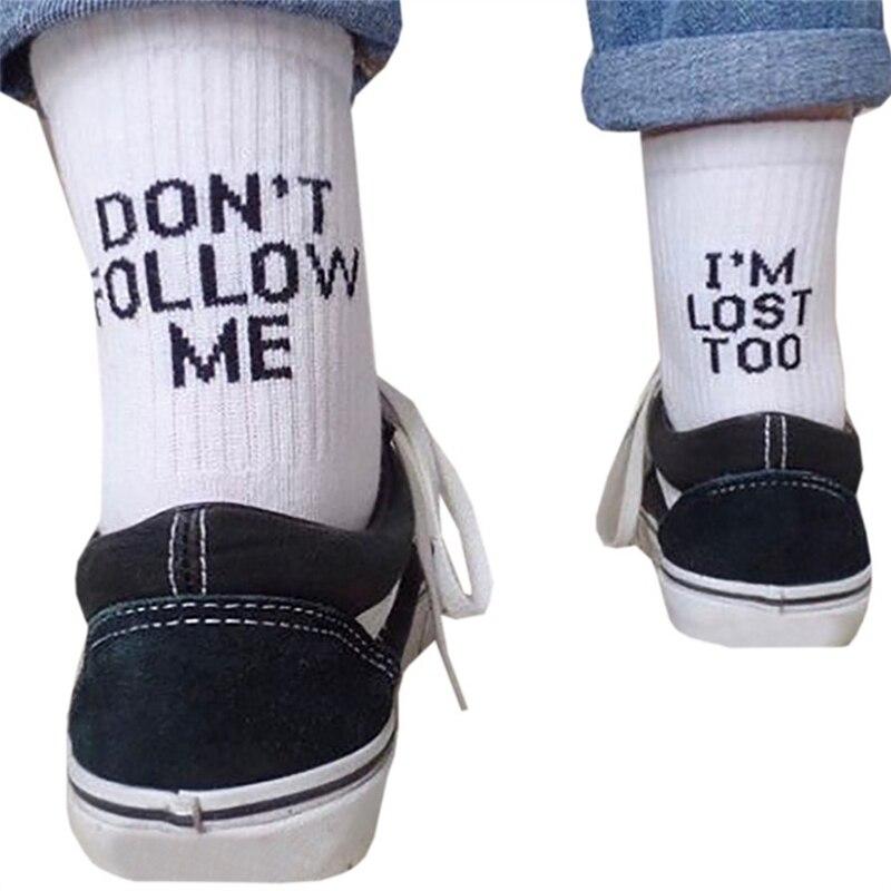 Women Funny Halajuku humored word printed   socks   Creative Heels sokken Hip Hop Street Skateboard Basket ball   Socks   Unisex