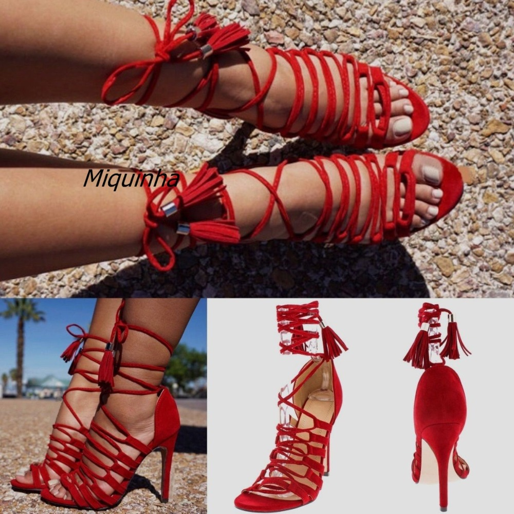 Stylish Rope Style Cross Strap Stiletto Heel Sandals Sexy Red Suede Cut-out Thin Heel Fringe Sandals Classy Tassel Lace Up Heels cross cross suede wedge sandals
