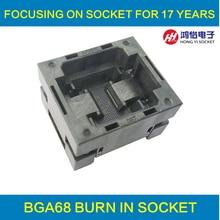 BGA68 OPEN TOP burn in socket pitch 0.8mm IC size 8*12mm BGA68(8*12)-0.8-TP01NT VFBGA68 programmer