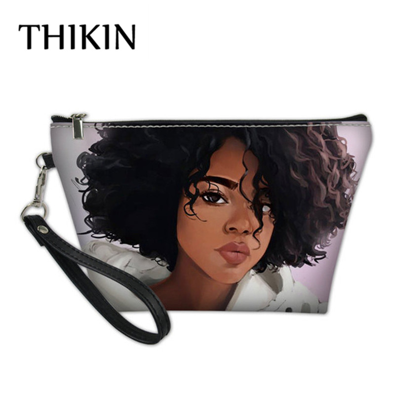 THIKIN Afro African Girls Printing Makeup Bags Cute Girl Cosmetic Bag Travel Organizer Make Up Pouch Women Toiletry Bag Dropping