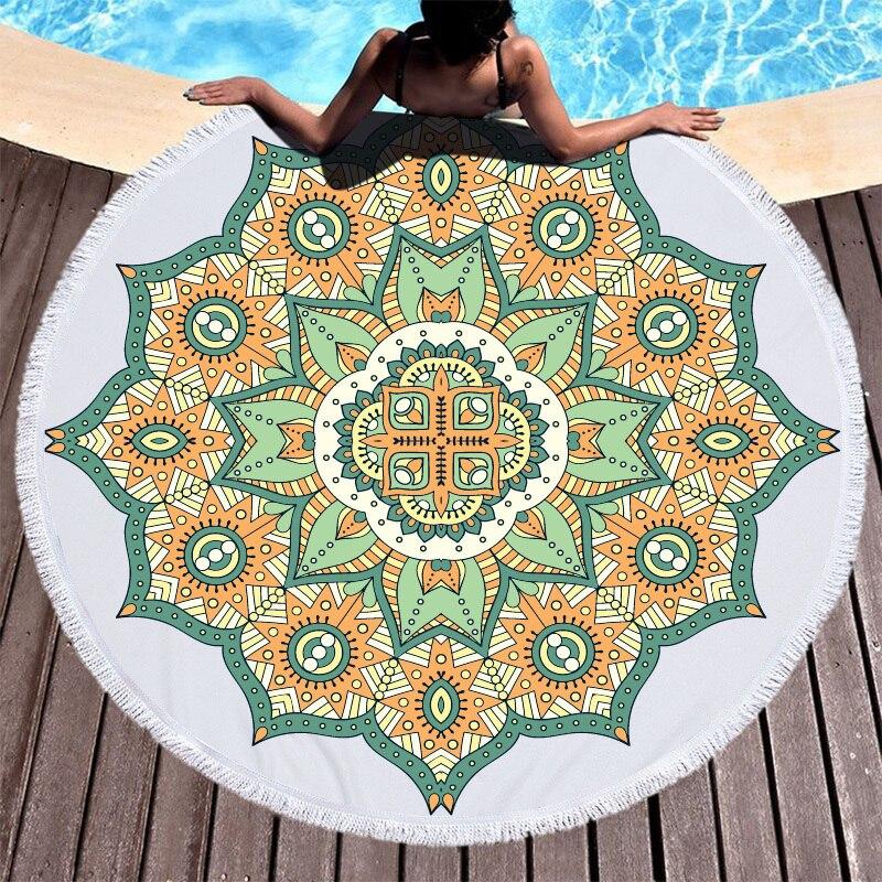 Image 4 - Lotus Mandala Printed Round Beach Towel Microfiber Towel Adults Summer Yoga Large 150cm Toalla Bath Colorful Serviette De Plage-in Bath Towels from Home & Garden