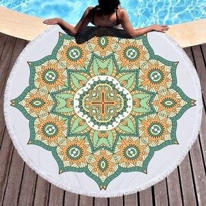 Image 4 - Lotus Mandala Printed Round Beach Towel Microfiber Towel Adults Summer Yoga Large 150cm Toalla Bath Colorful Serviette De Plage