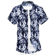 New model Shirts Hawaiian Beach style Evening Dress Mens Flower Clothes Floral Blouse Slim Summer
