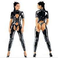 Open Crotch Catsuit Faux Latex Jumpsuit With Short Sleeves Zipper Back Wetlook Pvc Leather Overalls Bodysuits