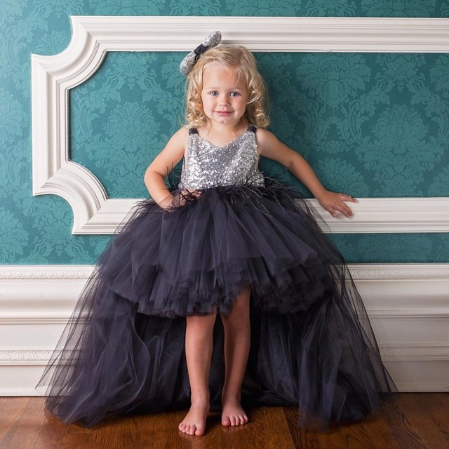Lovely Little Girls Formal Dress Asymmetrical Black Tutu Gown For