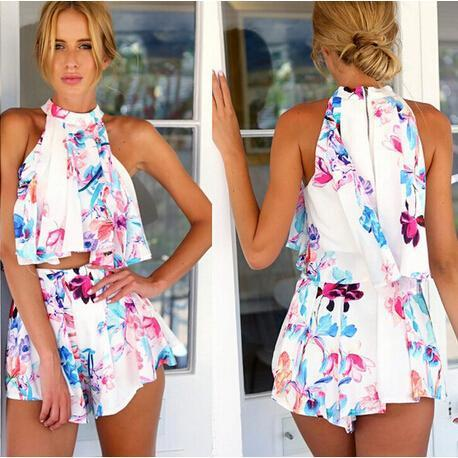 7c00d66065077 2015 New Summer Women Two Piece Outfits Shorts Sleeveless Sexy Print Crop  Top Elegant Jumpsuit Short Pants Culottes Playsuit