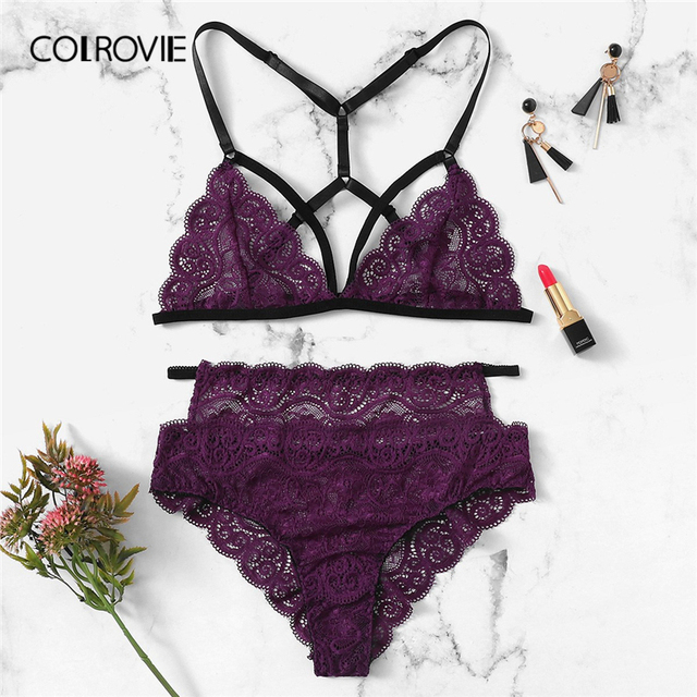 ab7d72d2638 COLROVIE Purple Solid Scalloped Harness Lace Sexy Intimates Women Lingerie  Set 2019 Wireless Transparent Underwear Bra