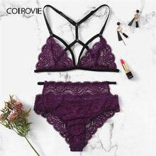 COLROVIE Purple Solid Scalloped Harness Lace Sexy Intimates Women Lingerie Set 2019 Wireless Transparent Underwear Bra Set