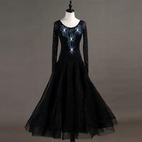 Modern Dance Costume Women Diamond National Standard Dance Long Sleeve Drag Queen Dress Ladies Ballroom Dance Dress DQL709