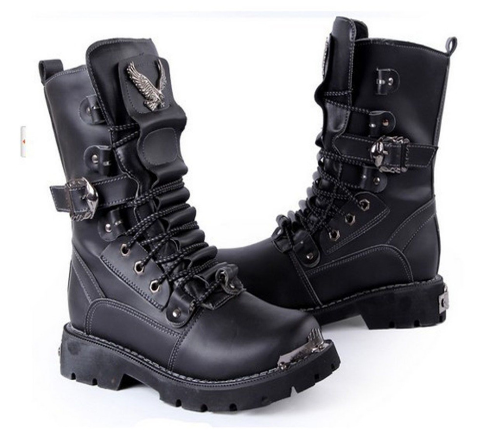 Rock 2015 TOP PUNK COOL MEN'S # High Ankle Fashion Army Boots SHOE ...