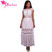 Dear Lover Elegant Maxi Dress Women Gown Robe White Lace Hollow Out Short Sleeve Long Party