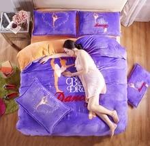 High Quality Home Textile Print Bedding Set 4Pcs Korean Princess Duvet Cover Bed Linen sheet Pillowcase King/Queen BS19