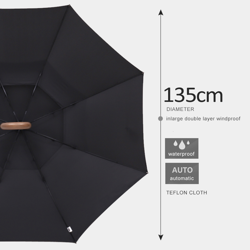 Image 2 - Parachase 135cm Long Handle Umbrella Rain Women Large Wooden 