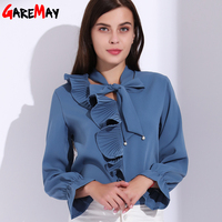 Women Chiffon Blouses Blue Ruffles Blouse Shirt Flared Sleeve Womens Tops And Female Blouses Store Long