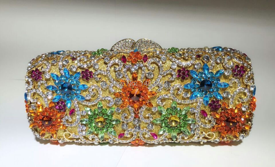 ФОТО Free shipping !! A16-5,gold color fashion top crystal stones ring clutches bags for ladies nice party bag