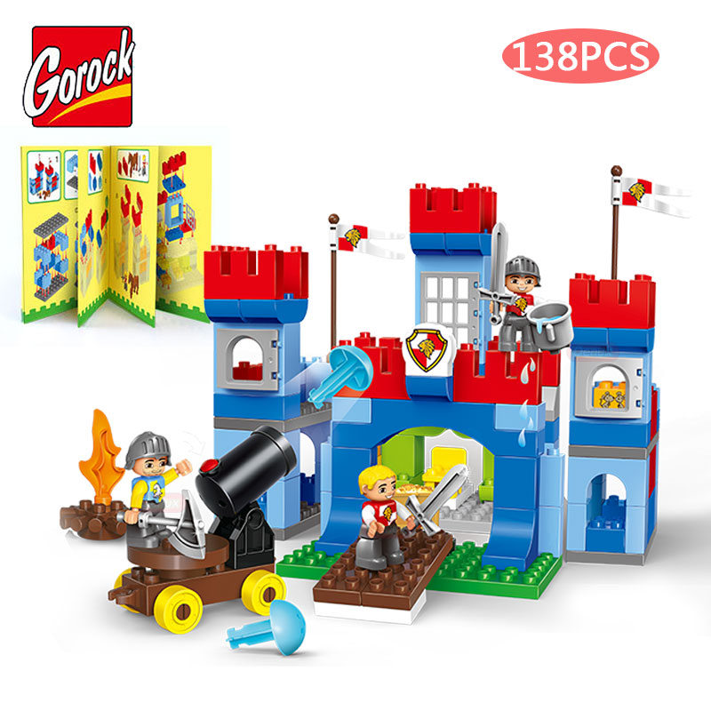 GOROCK 138PCS/SET Castle Empire Warrior Horse Model Large Particles Building Block With Manual For Boy's Gift Compatible Duplo gorock happy farm series animals paradise cow duck sheep farm animal model large particles building block compatible with duplo