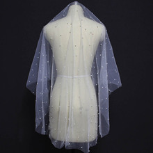 Pearl Beaded Short One Layer Wedding Veil Cover Face Ivory Bridal WITHOUT Comb Bride Accessories