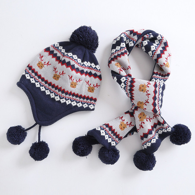 0f6c63f2273 boys hat scarf set children boy winter geometric print reindeer earflap  fleece beanie hat with scarf 2 pieces set christmas gift