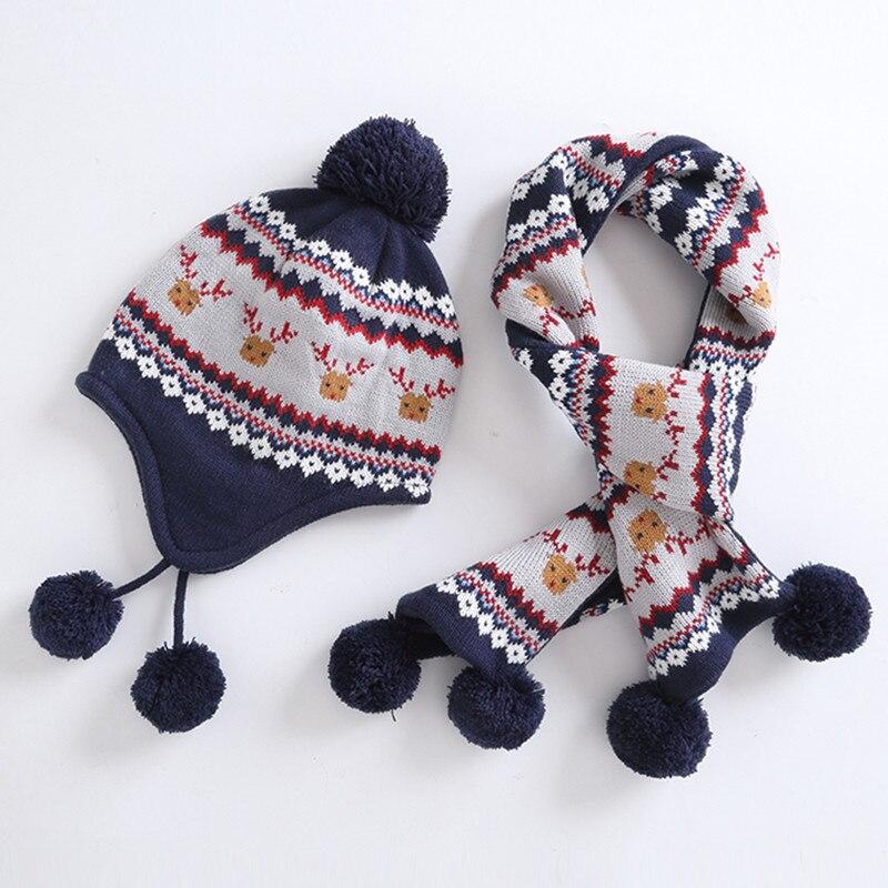 boys hat scarf set children boy winter geometric print reindeer earflap fleece beanie hat with scarf 2 pieces set christmas gift