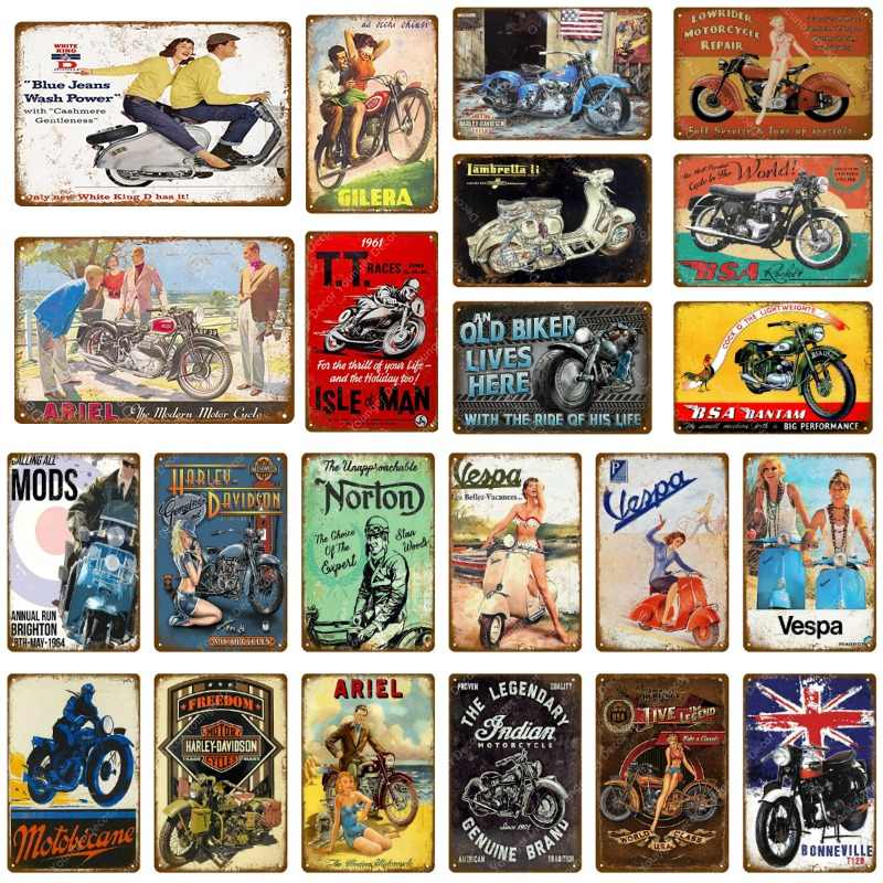 Classic Ariel Motorcycles Metal Tin Signs Vespa Electrombile Poster For Garage Club Store Home Decor Vintage Wall Decoration