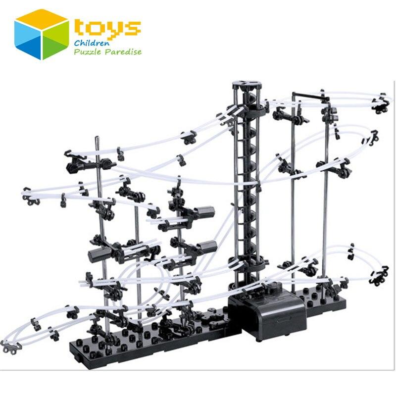 Espaço bolas brinquedo spaceball rollercoaster com elevador alimentado montanha russa novidade educacional diy blocos de construção brinquedo crianças
