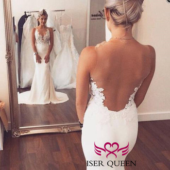 Sexy Backless V-Neckline Appliques Sleeveless Embroidered Lace Pure White Mermaid Wedding Dress Illusion w0500