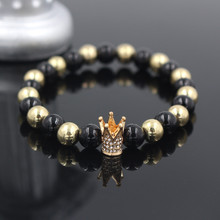 2017 Drop Shippinng Trendy Gold Color Imperial Crown Pave Crystal Bead Natural Onxy Stone Men Strand
