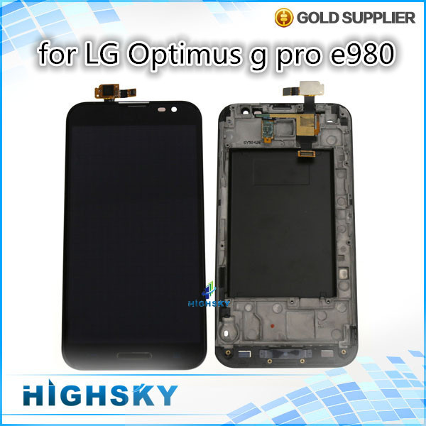 1 piece HK free shipping 100% tested screen for lcd LG optimus g pro e980 e985 F240 display with touch digitizer+ frame
