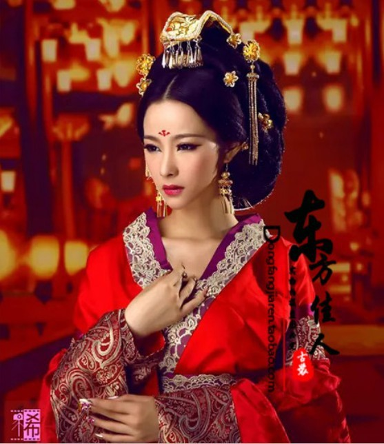 Xilouchuyu Red Hanfu Costume Hair Jewelry Set Tang Empress Gorgeous Hair Tiaras Hair Accessory 00009 red gold bride wedding hair tiaras ancient chinese empress hair piece