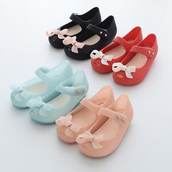 15-18cm Crystal Mini SED Shoes Children's Mesh Hole Shoes Jelly Baby Girls Sandals Cute Bowtie Flat Heel Shoes For Kids Infantil image