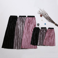2017 Spring Summer Family Matching Clothes Matching Mother Daughter Skirts Metallic Color Pleated Long Skirt Girls