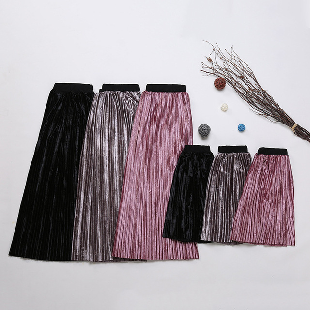 2017 Spring Summer Family Matching Clothes Matching Mother Daughter Skirts Metallic Color Pleated Long Skirt Girls Clothes