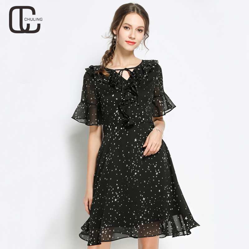 Women's Black Chiffon Ruffles Elegant Slim Plus Size Flare Sleeve Lace-up Dresses Female Casual Summer A-Line Fashion Dress