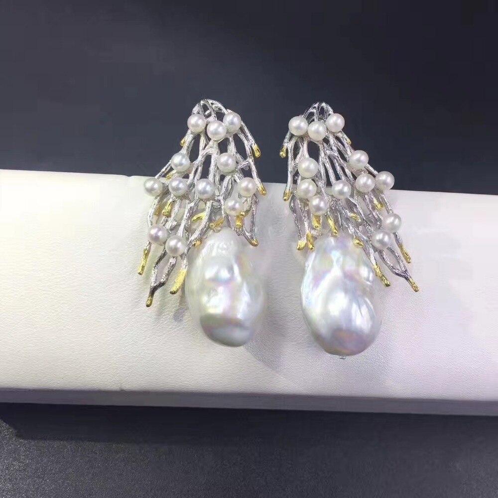 Vintage baroque naturel eau douce perle stud boucle d'oreille 925 en argent sterling branche d'arbre mode femmes bijoux livraison gratuite