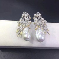 Vintage Baroque Natural Fresh Water Pearl Stud Earring 925 Sterling Silver Branch Of Tree Fashion Women