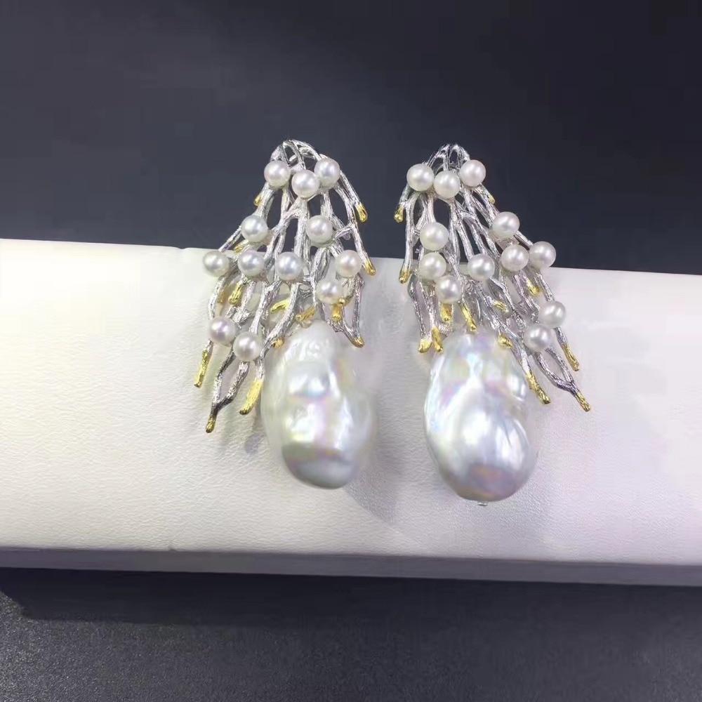 где купить vintage baroque natural fresh water pearl stud earring 925 sterling silver branch of tree fashion women jewelry free shipping по лучшей цене
