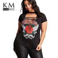 Kissmilk Plus Size O Neck Hollow Out Rose Letter Print Short Sleeve T Shirt Solid Color
