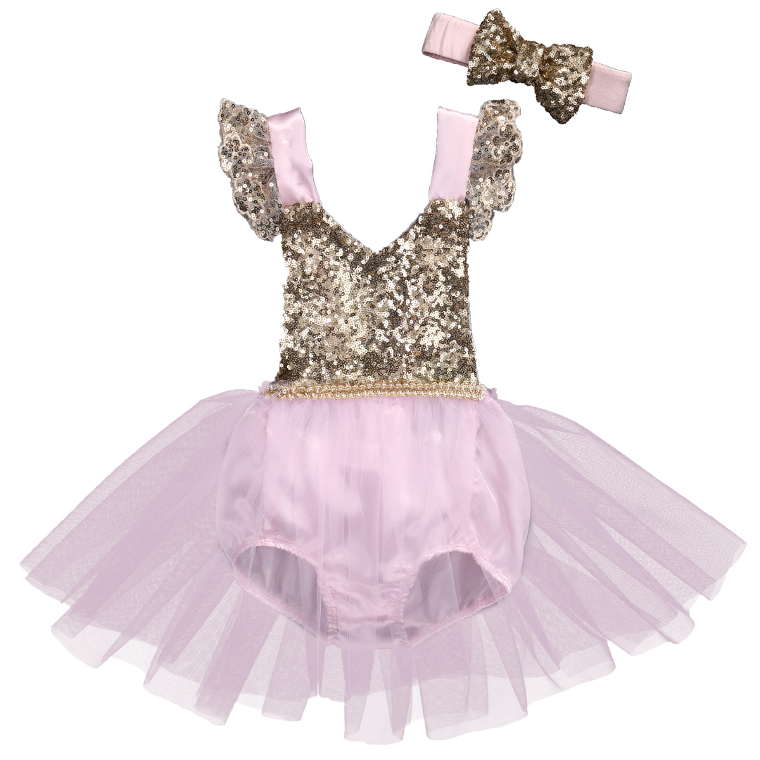 Summer 2017 Toddler Baby Girls Clothing Sequins Princess Romper Lace Party Tutu Flower Jumpsuit +Headband 2pcs Sunsuit Clothing 2017 new sequins baby girl romper clothes summer sleeveless tutu skirted toddler kids jumpsuit outfit sunsuit princess costume