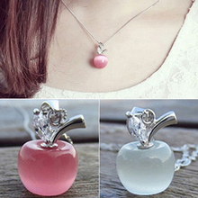 Girl Apple Shape Pendant Faux Opal Cubic Zirconia Silver Plated for font b Necklace b font