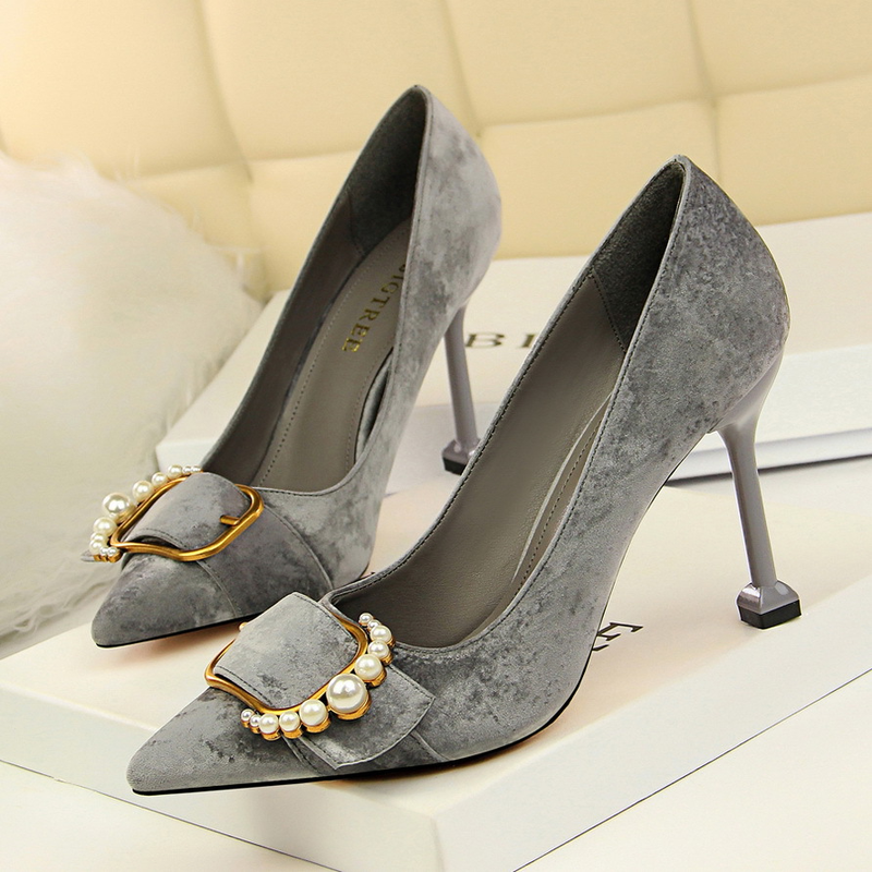 Korean fashion women 39 s shoes high heeled suede shallow mouth pointed sexy thin metal pearl belt buckle single shoes in Women 39 s Pumps from Shoes
