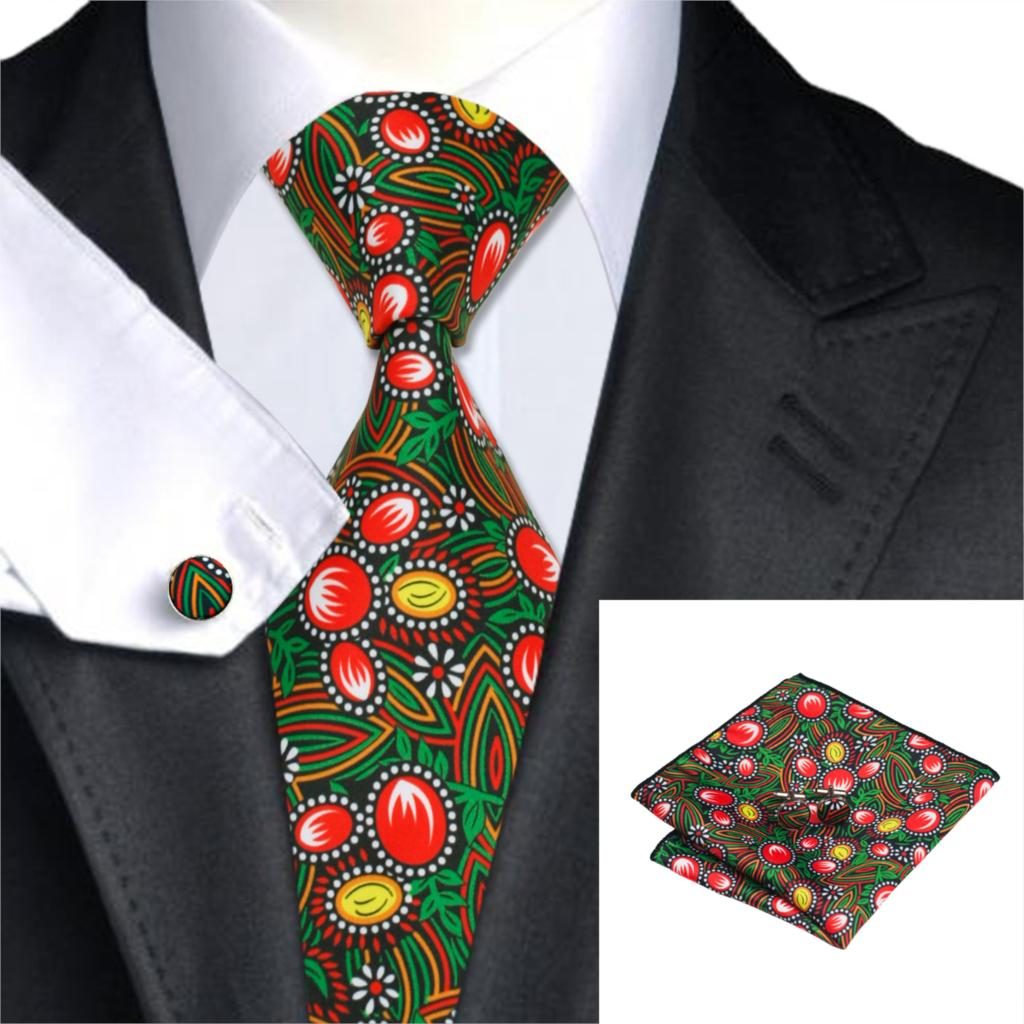 2017 Neue Marke Hallo-tie Floral Herren Krawatten Taschentuch Manschettenknöpfe Auf Verkauf Druckes Silk Krawatten Für Männer Anzüge Gravatas Krawatten C-1285