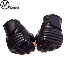 Morewin New Style Mens Leather Driving Gloves Fitness Half Finger Tactical Black Guantes Luva Fingerless Mittens