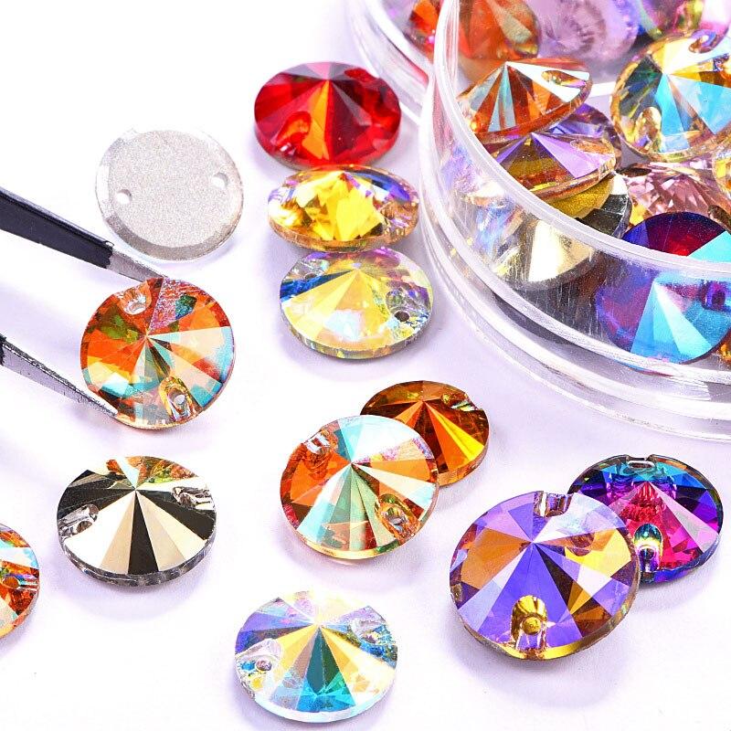 Best Quality Round Rivoli Crystal AB Sew On Rhinestones Flatback Glass Crystal Colorf Sewing Rhinestones For Wedding Dress B3796