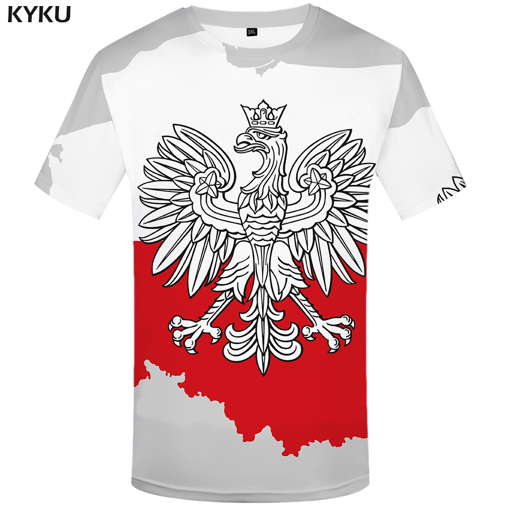 KYKU Parrot   T  -  shirt   Men White Animal Tshirt Hip Hop Tee Poland Print   T     Shirt   3d Gothic Casual Mens Clothing Summer Streetwear